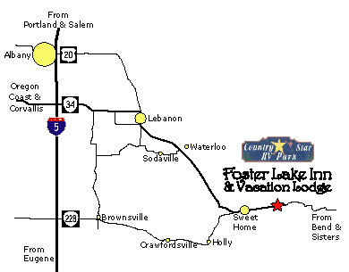 Directions Map To Foster Lake Inn Vacation Lodge Foster Oregon